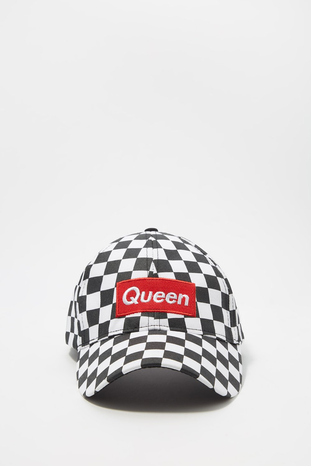 women checkered embroidered dad cap