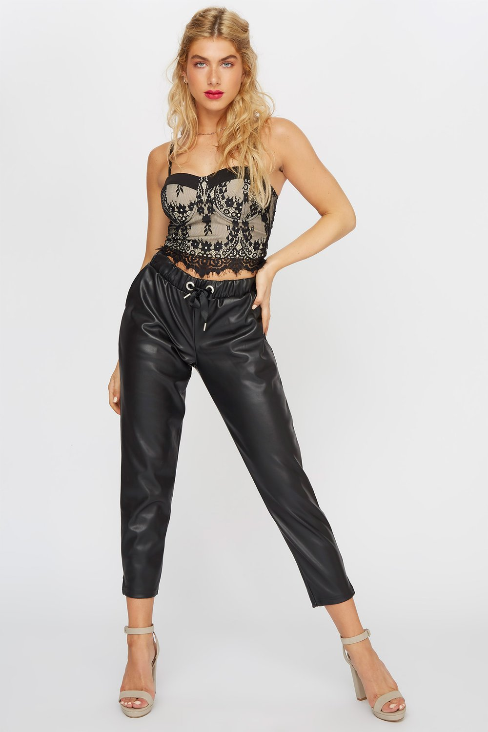 women faux-leather drawstring pant