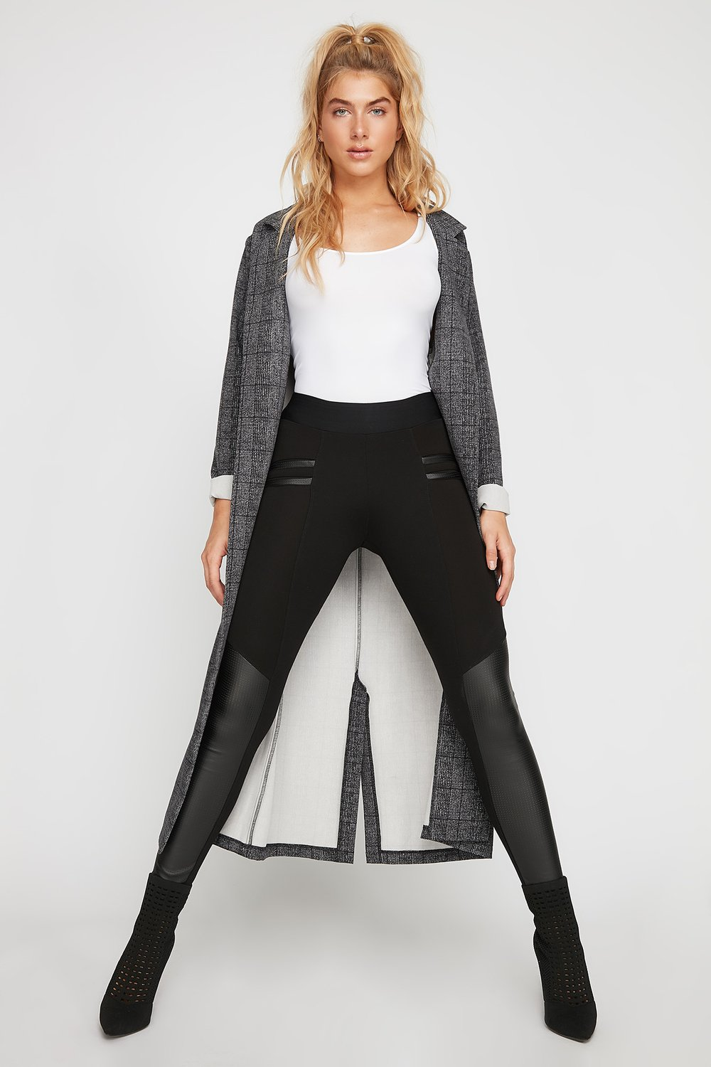 women faux-leather pull-on legging