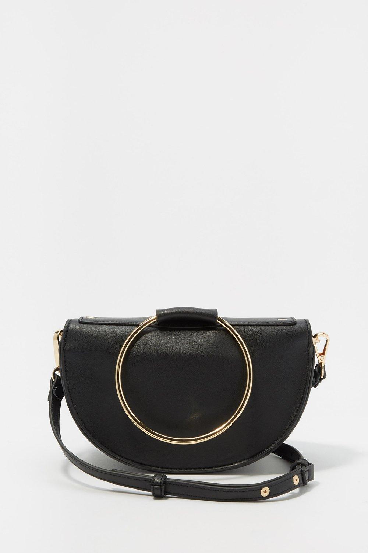 women faux leather ring crossbody