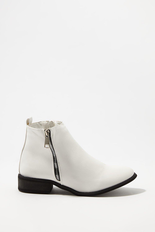 women shoes faux-leather side zipper bootie