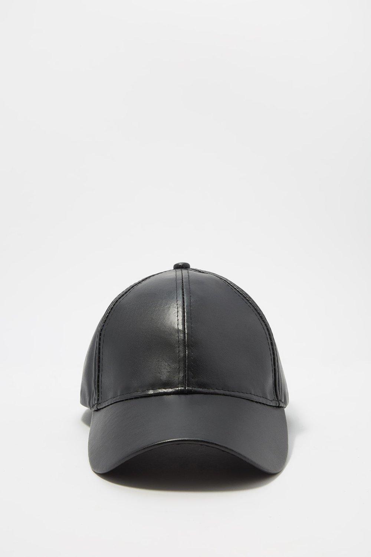 women faux-leather snapback cap