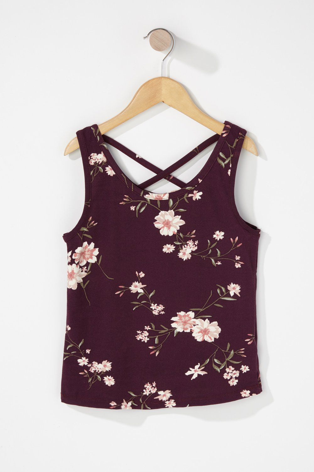 girls caged neck floral tank