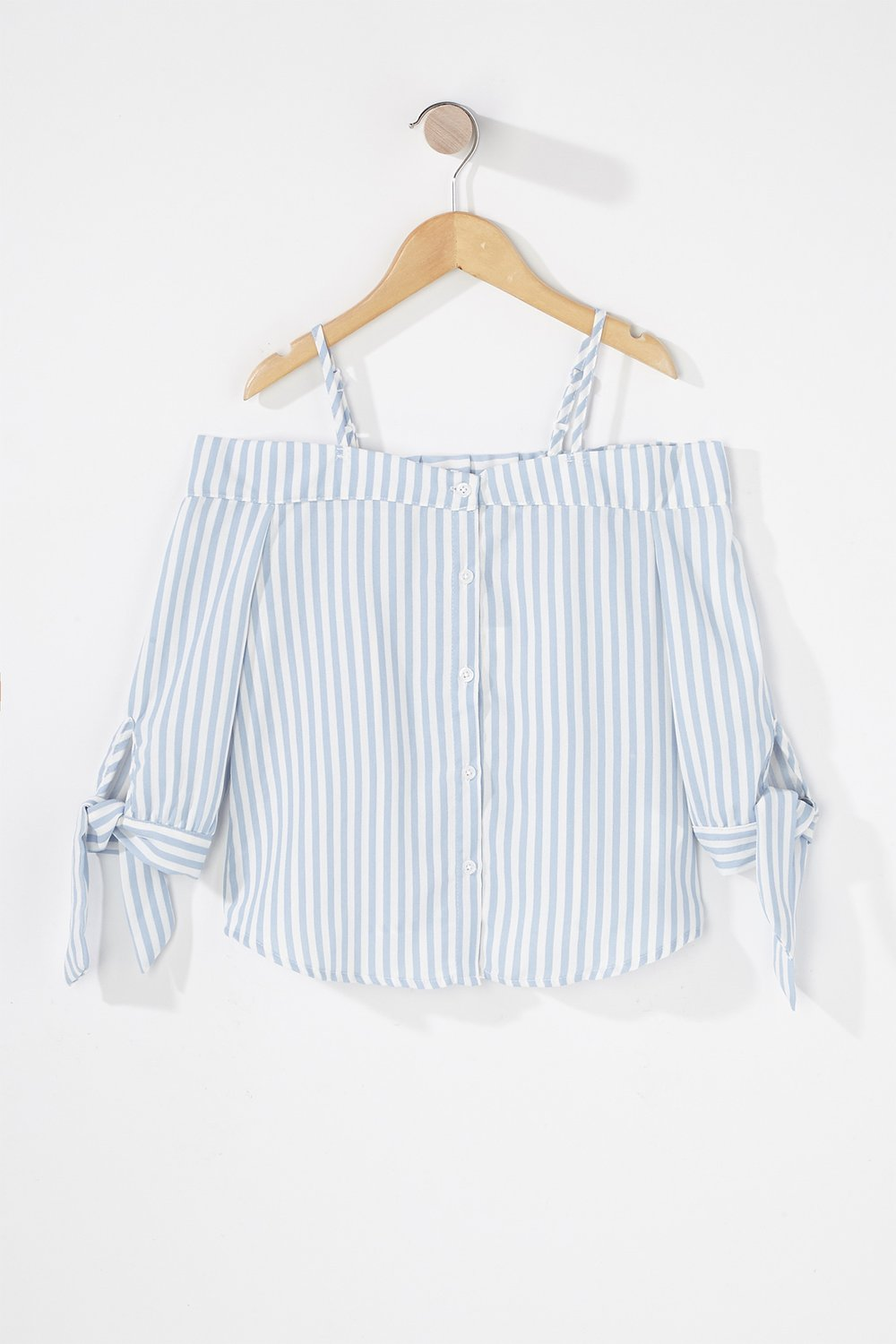 girls cold shoulder button-up blouse
