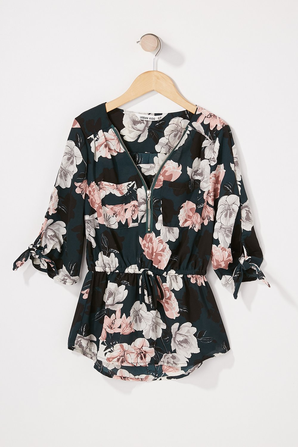 girls floral drawstring sleeve blouse