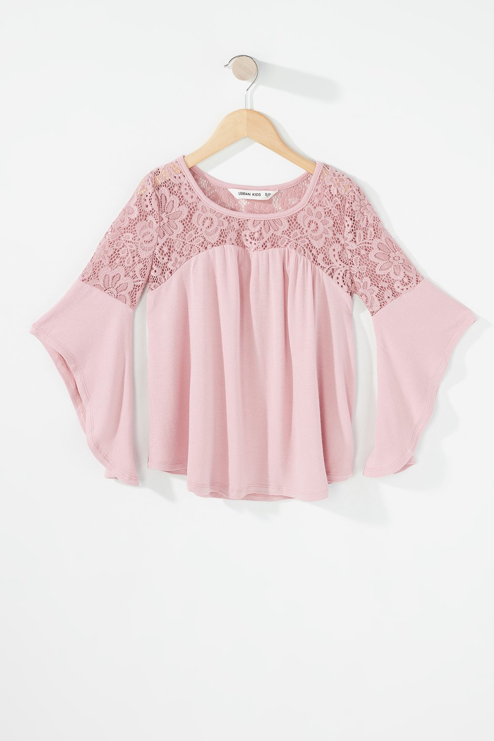 girls lace ruffle sleeve blouse