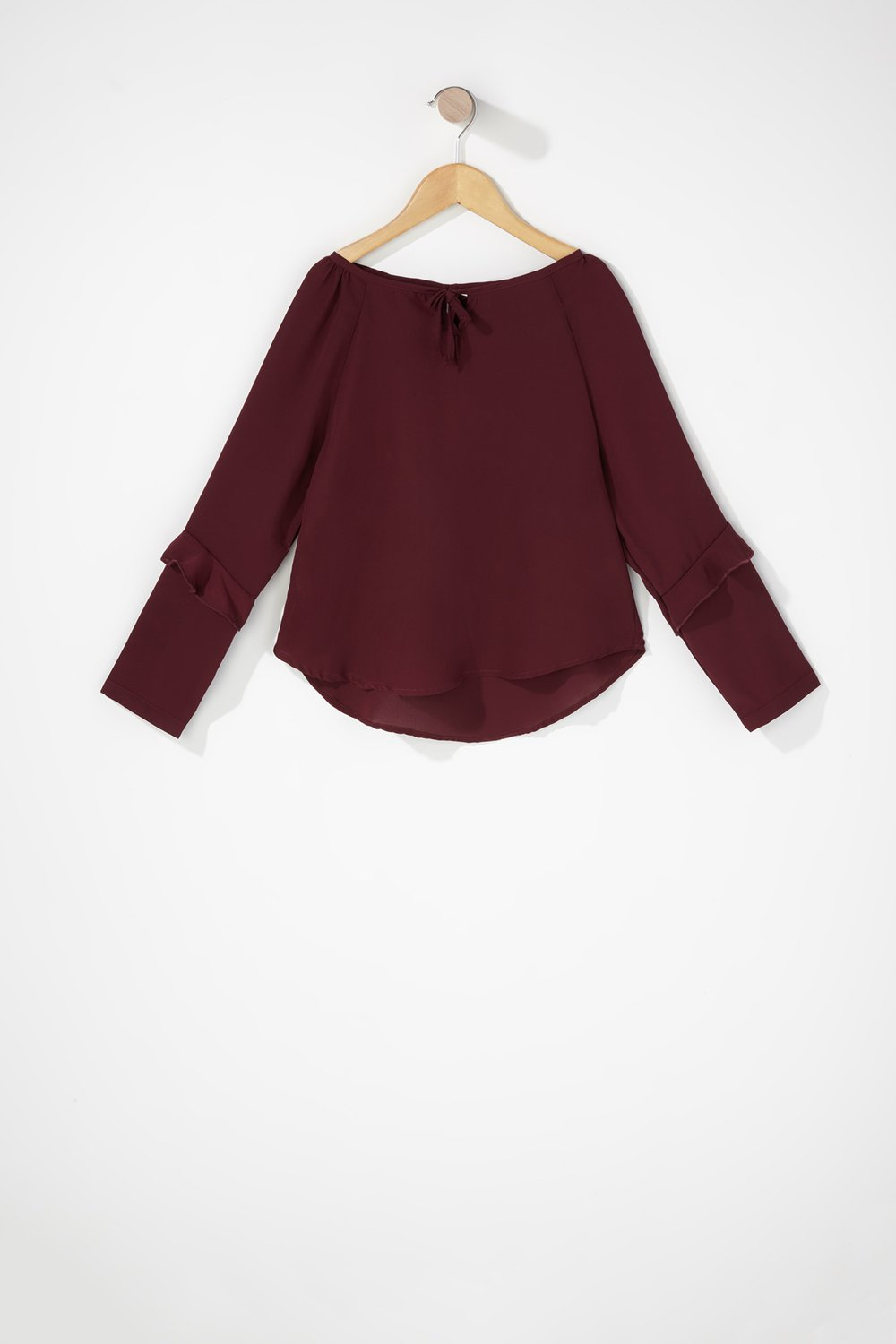 girls self-tie bell sleeve blouse
