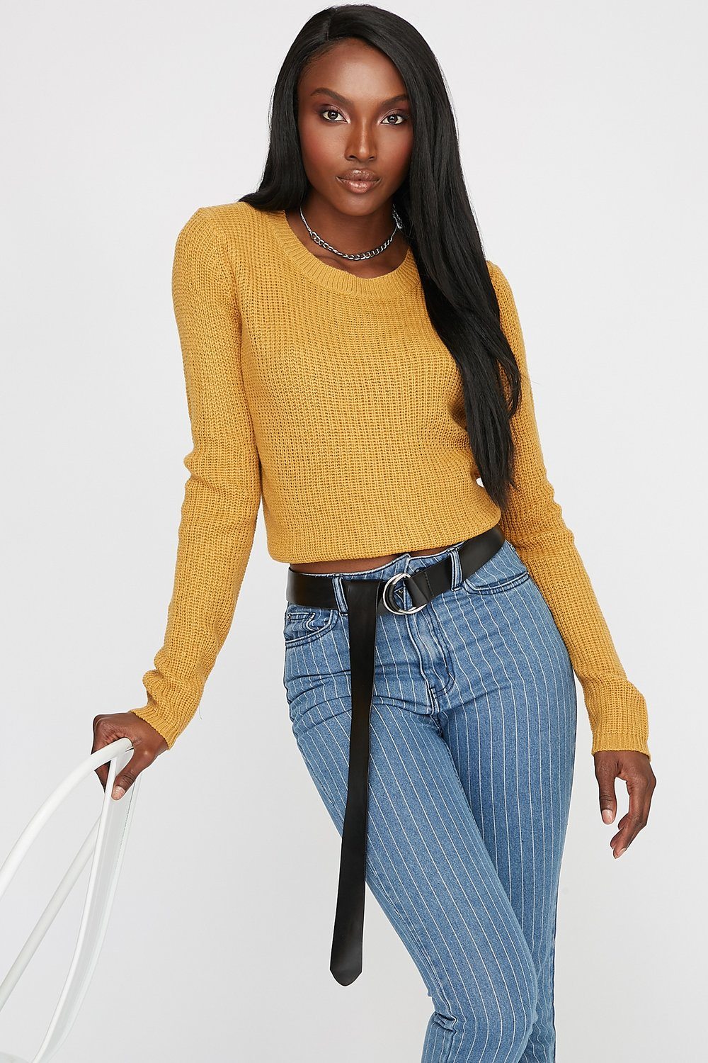 women lace-up knit cropped sweater