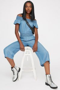 women off the shoulder smocked chambray jumpsuit