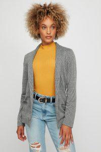 women printed open-front blazer