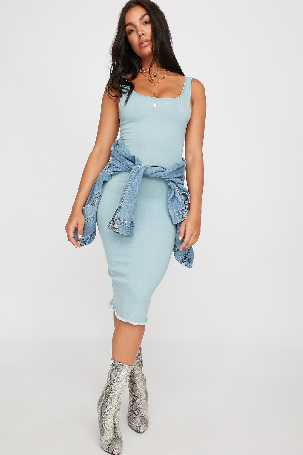 women sleeveless denim midi dress