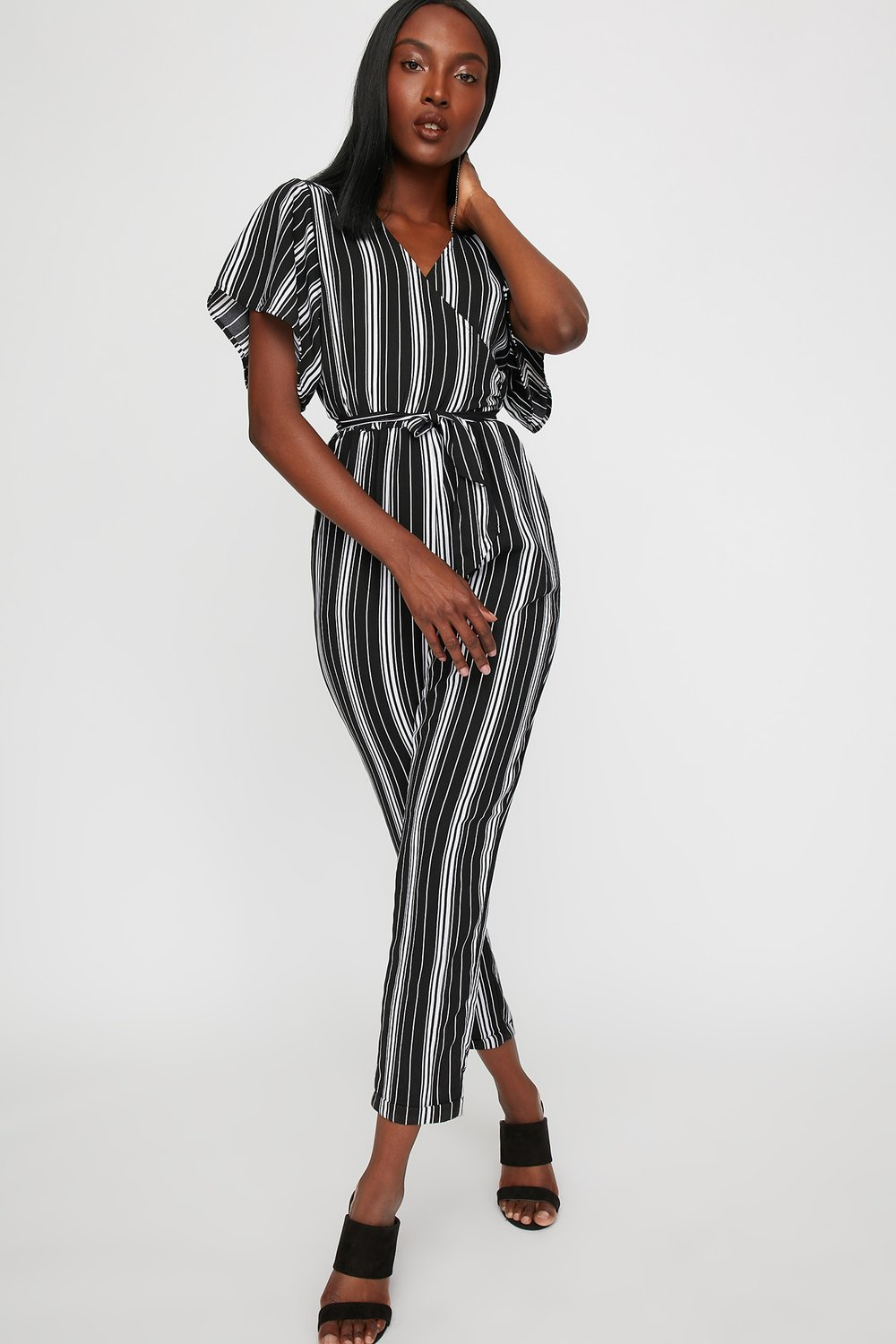 women striped faux-wrap self-tie jumpsuit