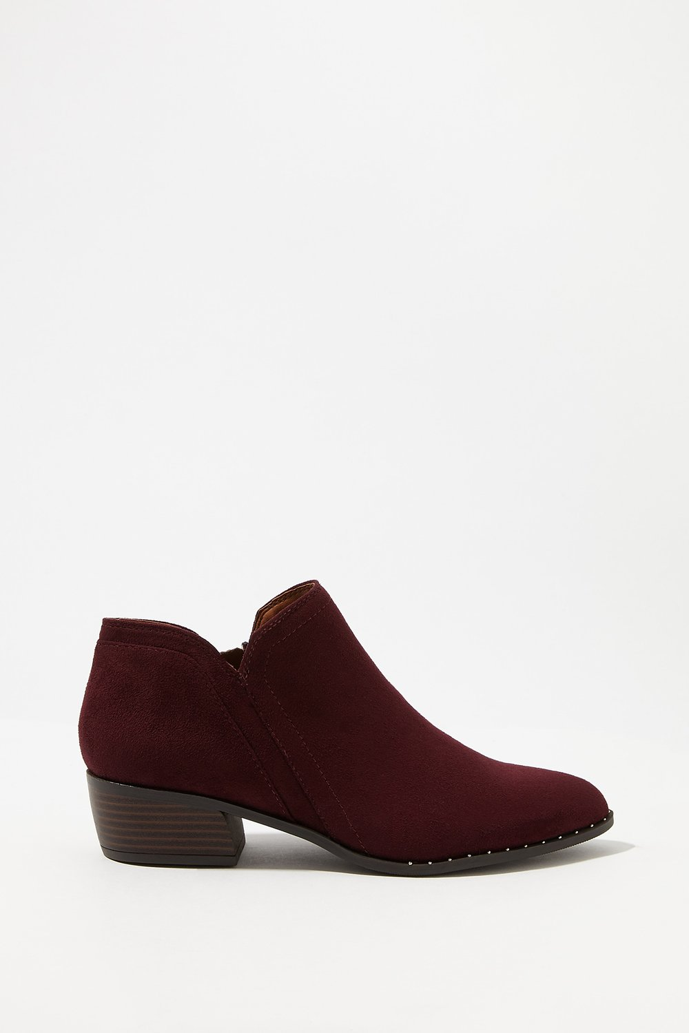 women shoes studded faux-suede slip-on bootie