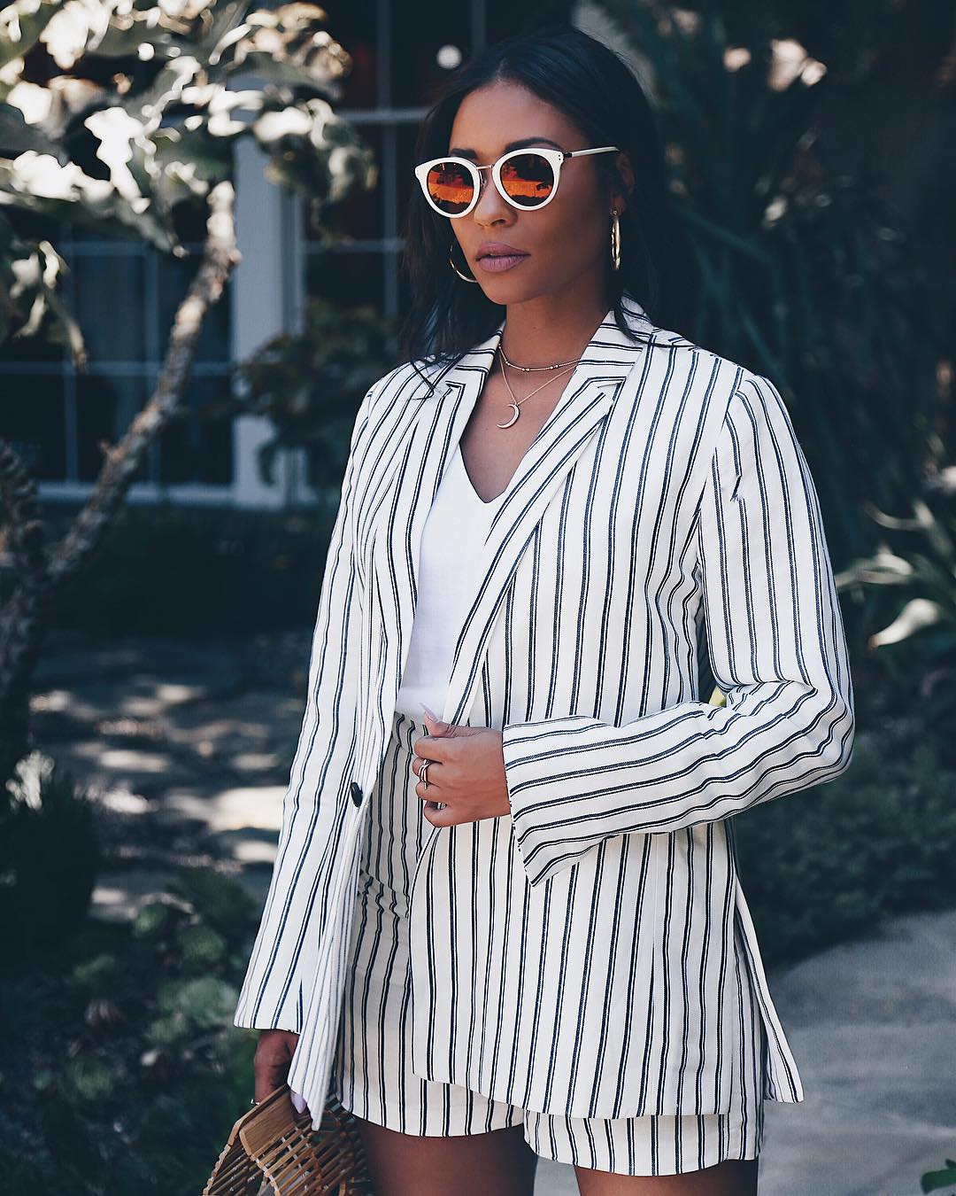 striped blazer set