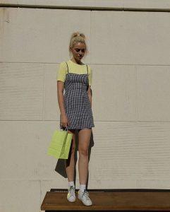 plaid dress over t-shirt