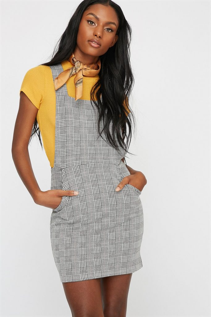 women plaid overalls