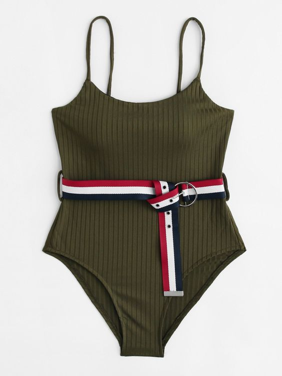 belted swimsuit