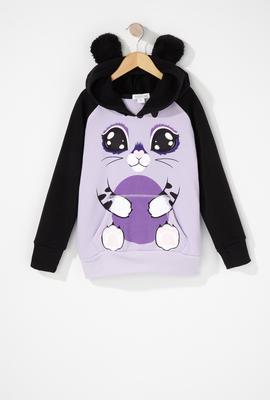girls cat character hoodie