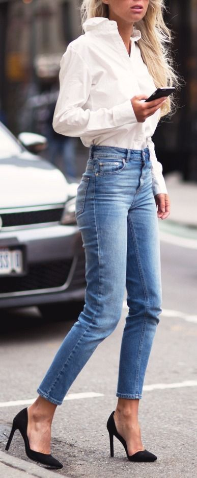 women straight cropped denim jeans