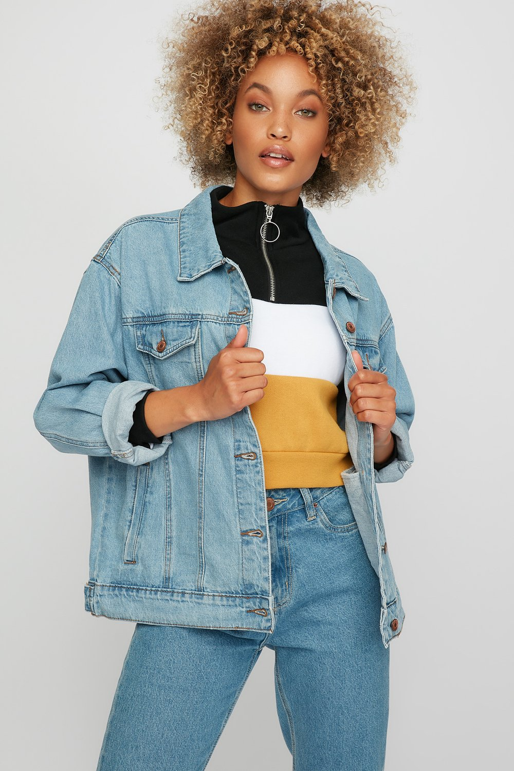 women denim on denim outfit
