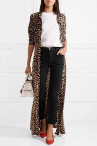 women cheetah print kimono