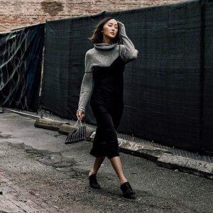 women dress over turtleneck sweater