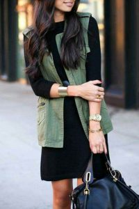 women vest over dress