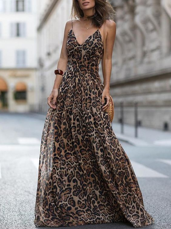 women cheetah print dress