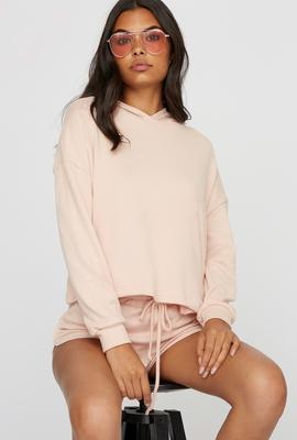 women athleisure pastel hoodie and shorts
