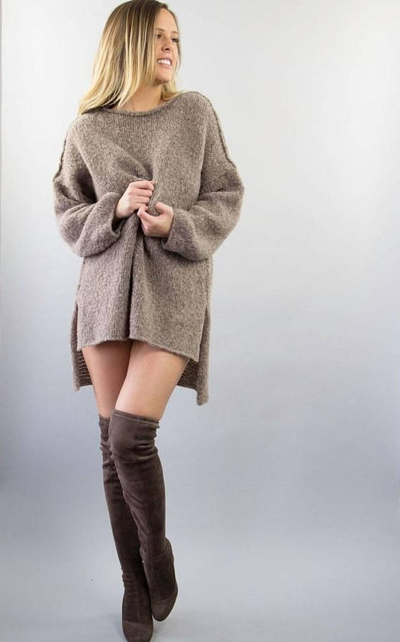 women slouchy sweater dress