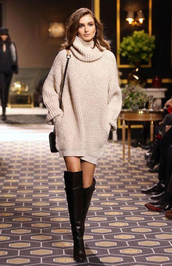 women turtleneck sweater dress