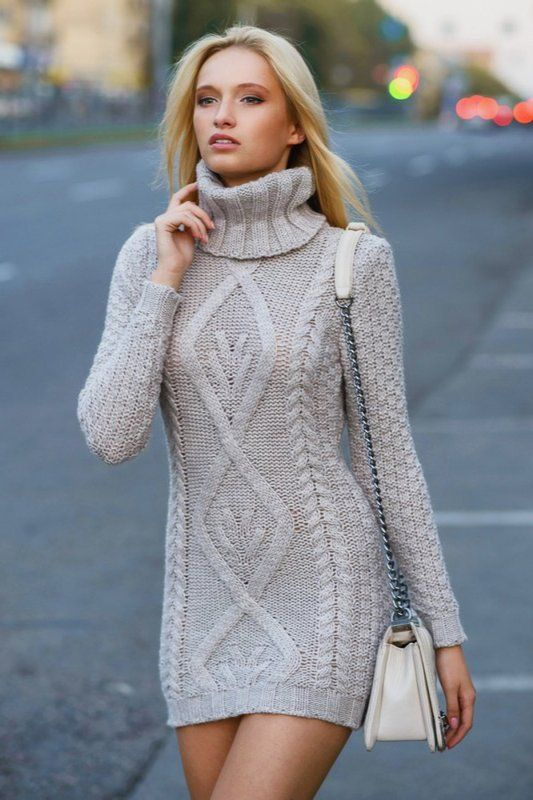 women turtleneck sweater dress
