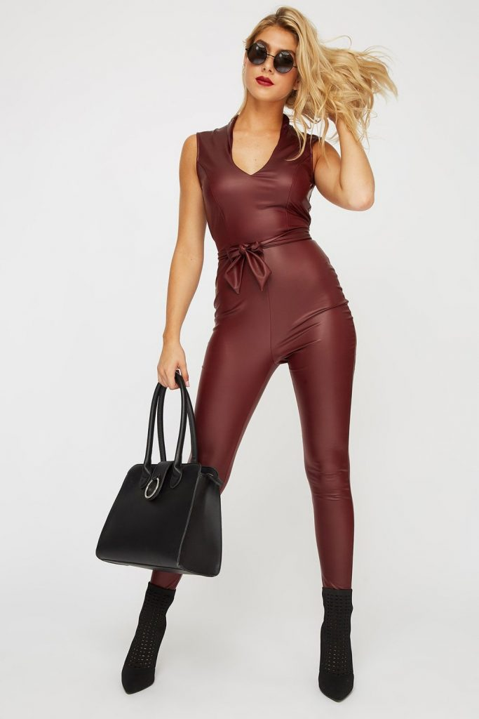 faux-leather belted jumpsuit