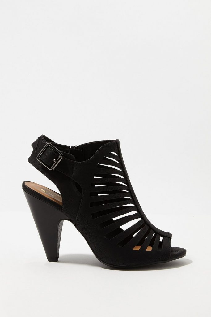 faux-leather caged cone heel