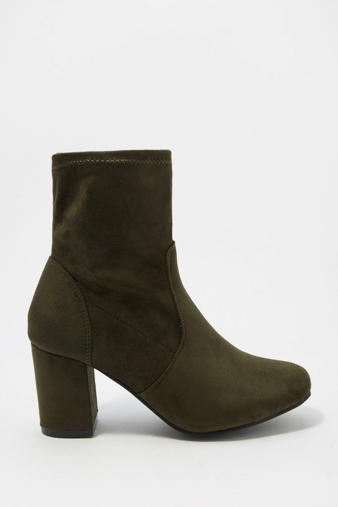 faux-suede ankle booties