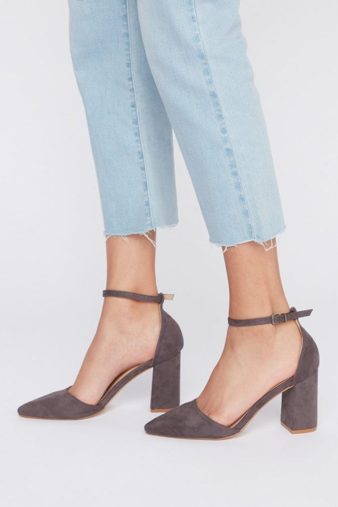faux-suede ankle strap heel