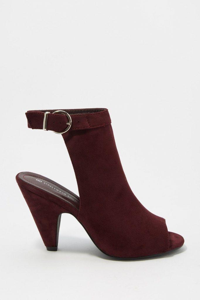 faux-suede buckle cone heel