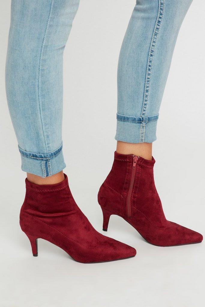 faux-suede heel booties