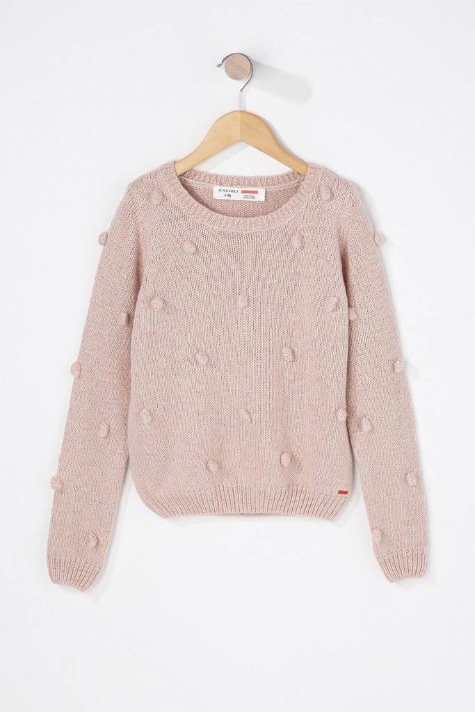 girl pom pom knit sweater