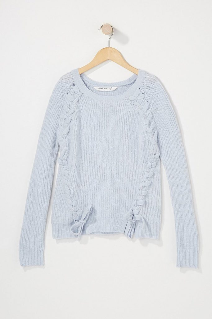 girls braided knit bowtie sweater