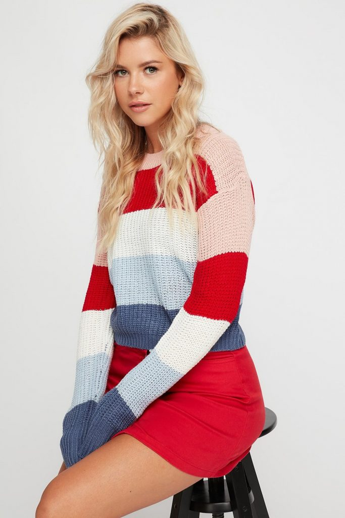 knit colour block striped sweater