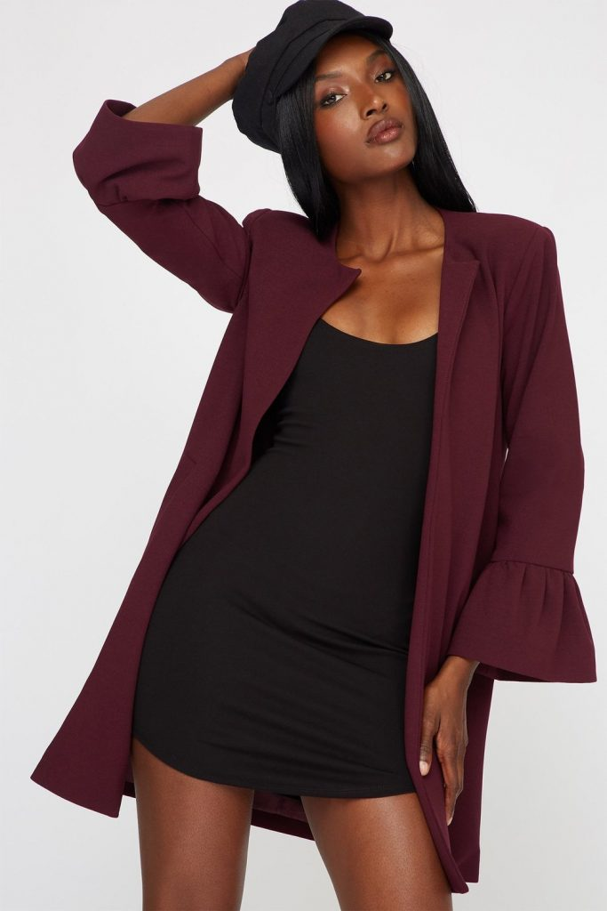 open-front bell sleeve jacket