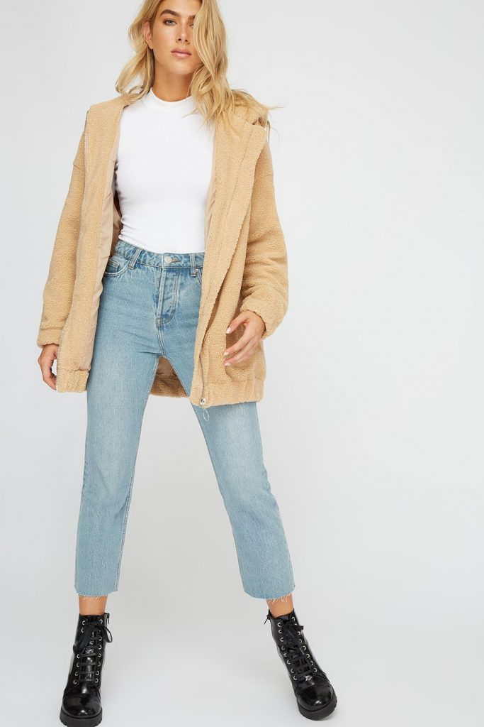 oversized faux-fur sherpa jacket