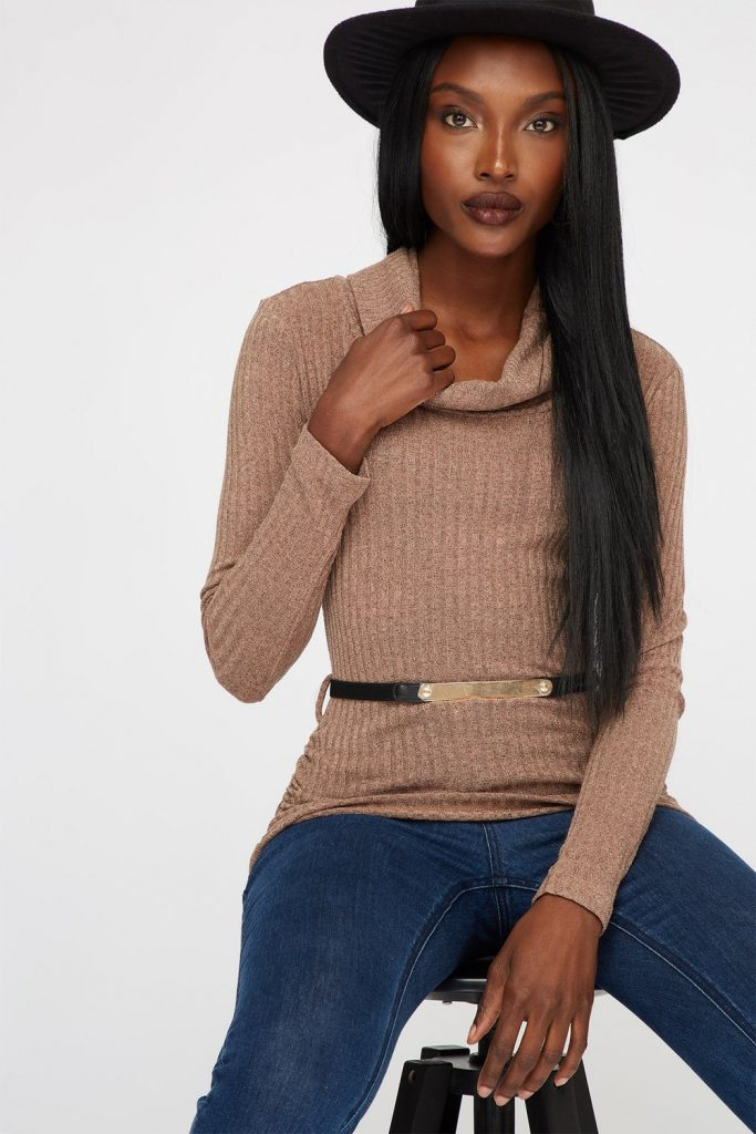 ribbed turtleneck belted sweater