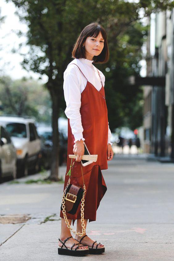 slip dress over blouse