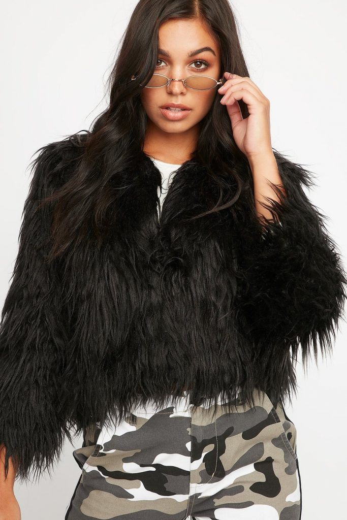 soft faux-fur cropped jacket