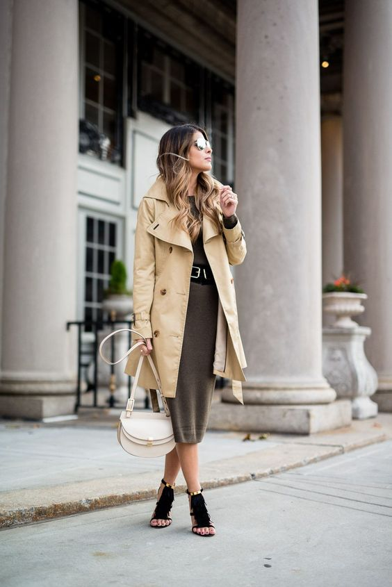trench coat over dress