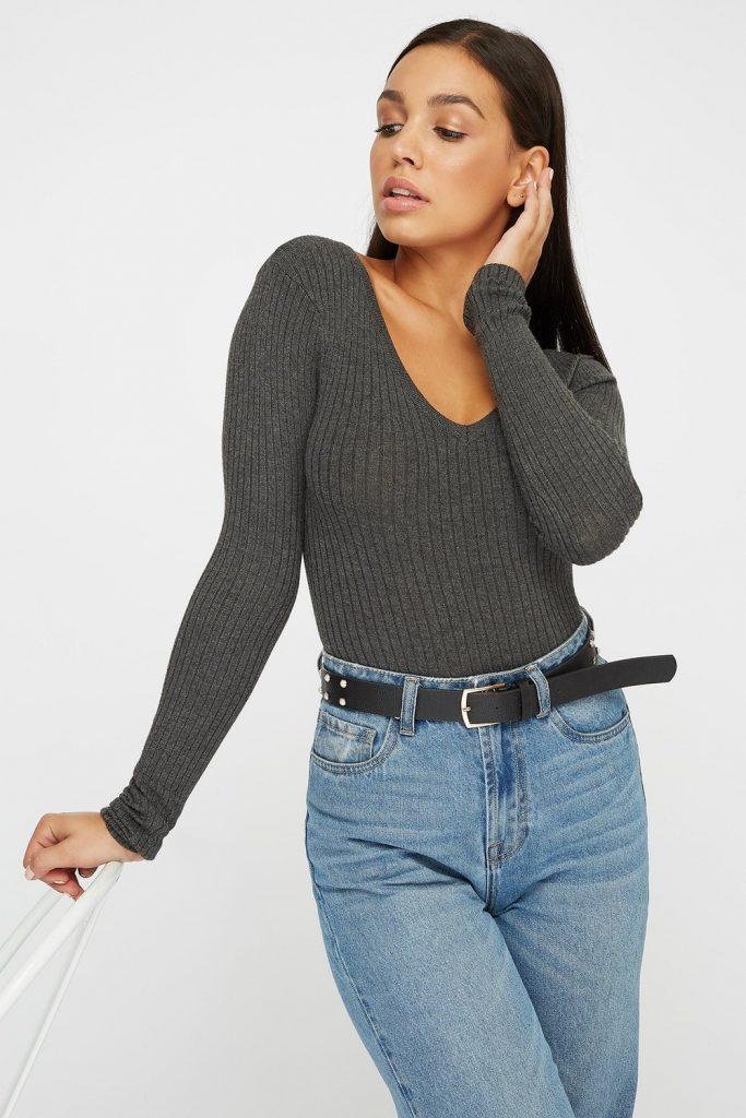v-neck ribbed soft sweater