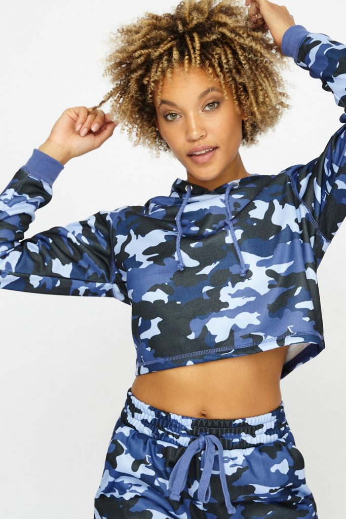 camo cropped drawstring