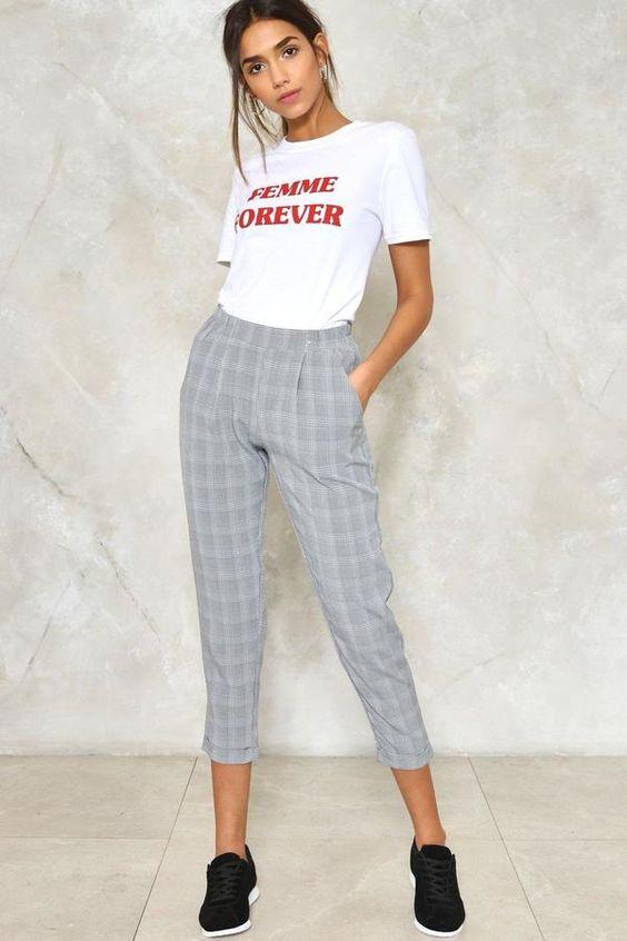 check print pants